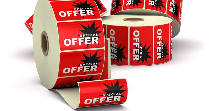 Labels in Rolls color Red Sticker offer